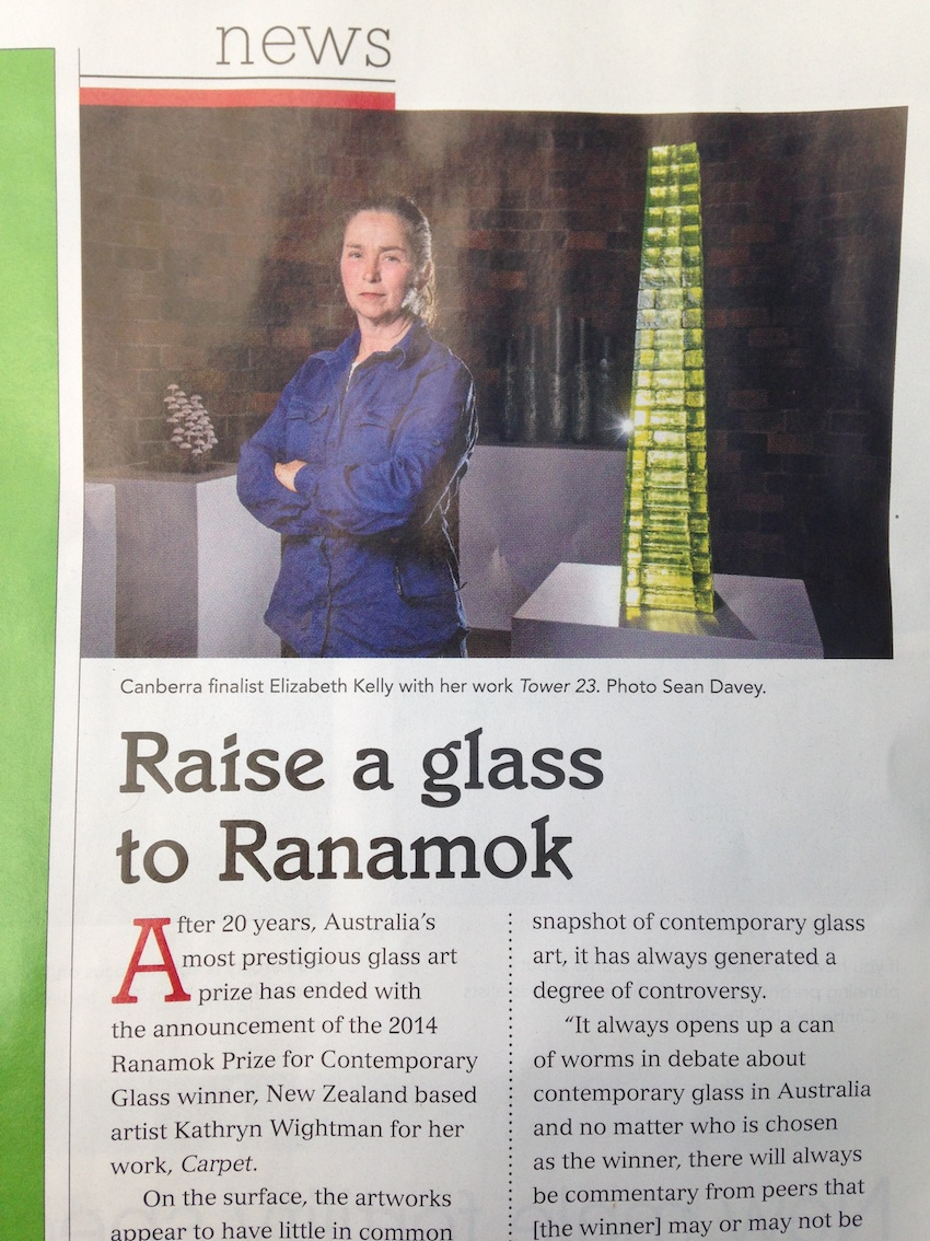 artist with her work in Ranamok Glass Prize 2014